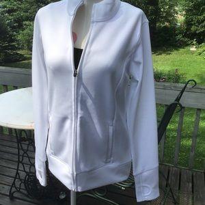 Alo Yoga White Zip Up Jacket EUC